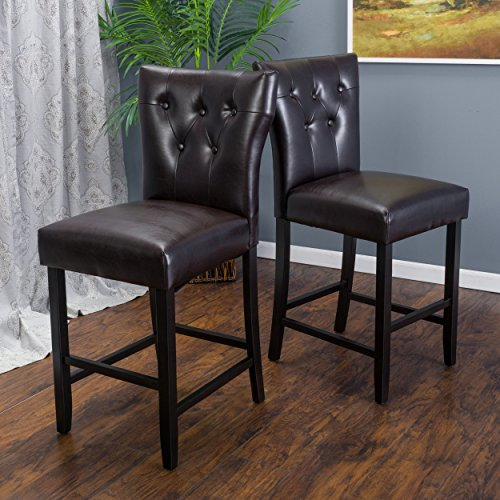 Set of 2 Pierre Brown Leather Counter Stool