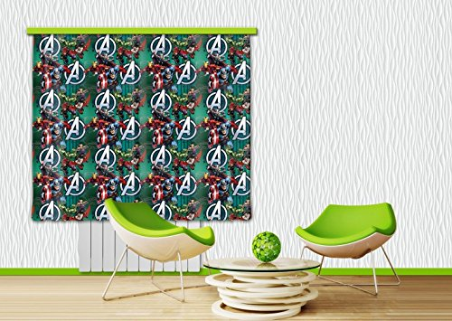 1art1 The Avengers Window Curtain - Captain America, Iron Man, Hulk, Thor (71 x 63 inches)