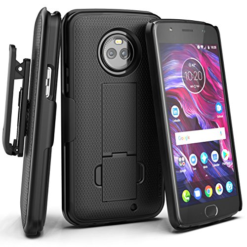 Rubberized Case Clip (Moto X4 Belt Clip Case, Encased [DuraClip] Slim Fit Holster Shell Combo (w/ Rubberized Grip Finish) For Motorola Moto X4 - 2017 Release (Smooth Black))