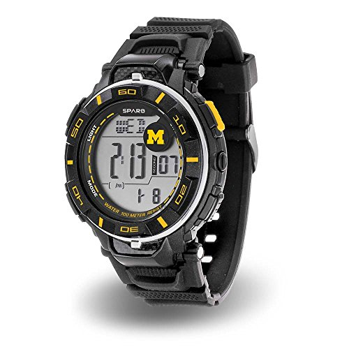 Michigan Wolverines NCAA Team Logo Power Watch with Digital Readout (Baseball Rotating Watch)