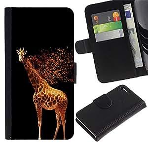A-type (Cool brillantes de la jirafa) Colorida Impresión Funda Cuero Monedero Caja Bolsa Cubierta Caja Piel Card Slots Para Apple Apple iPhone 4 / iPhone 4S