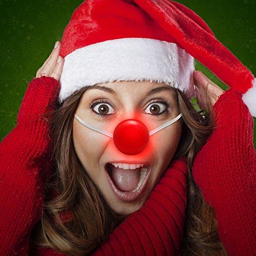 Light Up LED Red Clown Reindeer Nose Halloween Costume - Box of 12 - Halloween Light Up Costumes