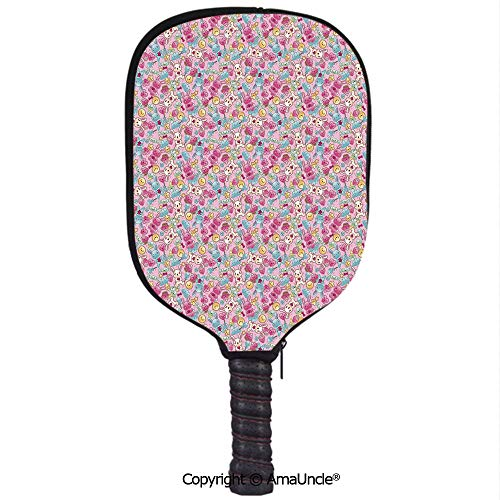 AmaUncle Customized Racket Cover, Stylish Kawaii Bunnies Ice Cream and Candies Doodle Style Cartoon Drawing Abstract Decorative Racket Cover,Protect Your Pickleball Paddles