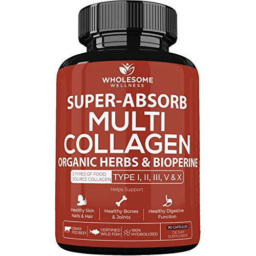 512acgYd%2BKL - Super-Absorb Multi Collagen Pills (Type I II III V X) Organic Herbs and Bioperine - Anti-Aging, Hair, Skin, Nails, Joints - Hydrolyzed Collagen Peptides Protein Supplement for Women Men (90 Capsules)