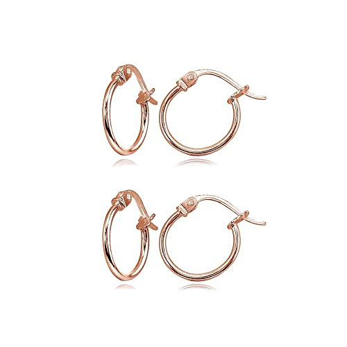 ece26faed 2 Pair Set Rose Gold Flash Sterling Silver Tiny Small 12mm High Polished  Round Thin Lightweight Unisex Click-Top Hoop Earrings: Amazon.ca: Jewelry