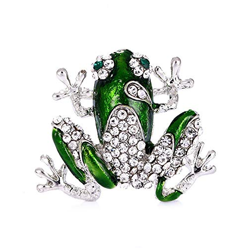 Dixinla Brooch Exquisite Alloy Diamond Frog Animal pin Men and Women ()