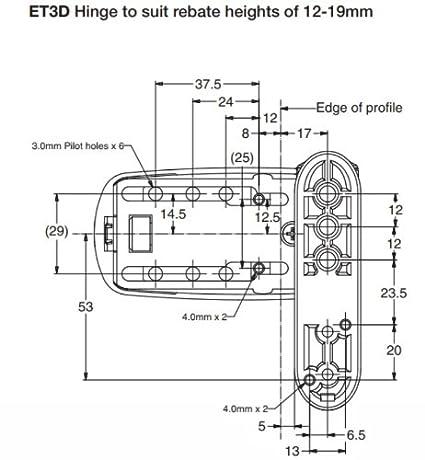 ET3D 3-fach verstellbares T/ürband f/ür uPVC-T/üren Wei/ß Avocet