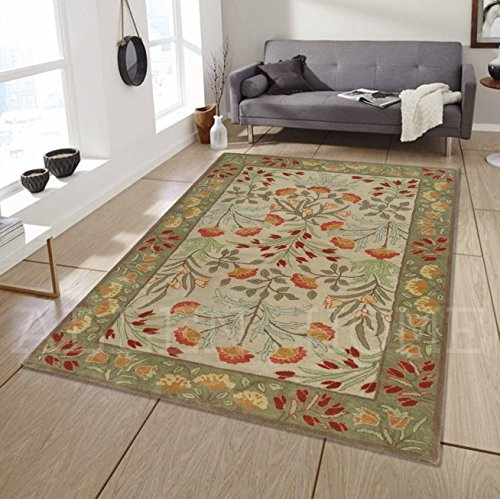 Allen Home Wool Rug ANNY Multi Modern Tufted Persian Traditional Wool Rug Carpet (3'X5')