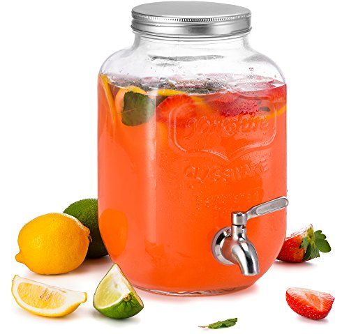 Glass Lemonade - KooK Mason Jar Glass Drink & Beverage Dispenser with Stainless Steel Spigot, 1 Gallon