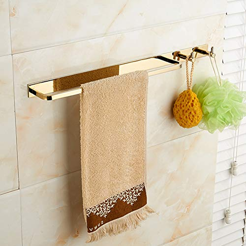 XUEER Towel Rack,All Copper Gold Color Bright Light,Single Rod Clothes Hook Combination Towel Rack Punch Free,Wall-Mounted Suitable for Hotel/Bathroom
