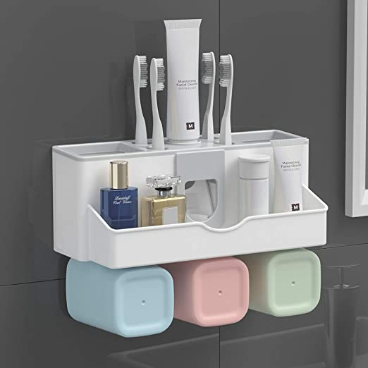 Toothbrush Holder Wall Mount Cup Toothpaste Multifunctional Storage Rack SL
