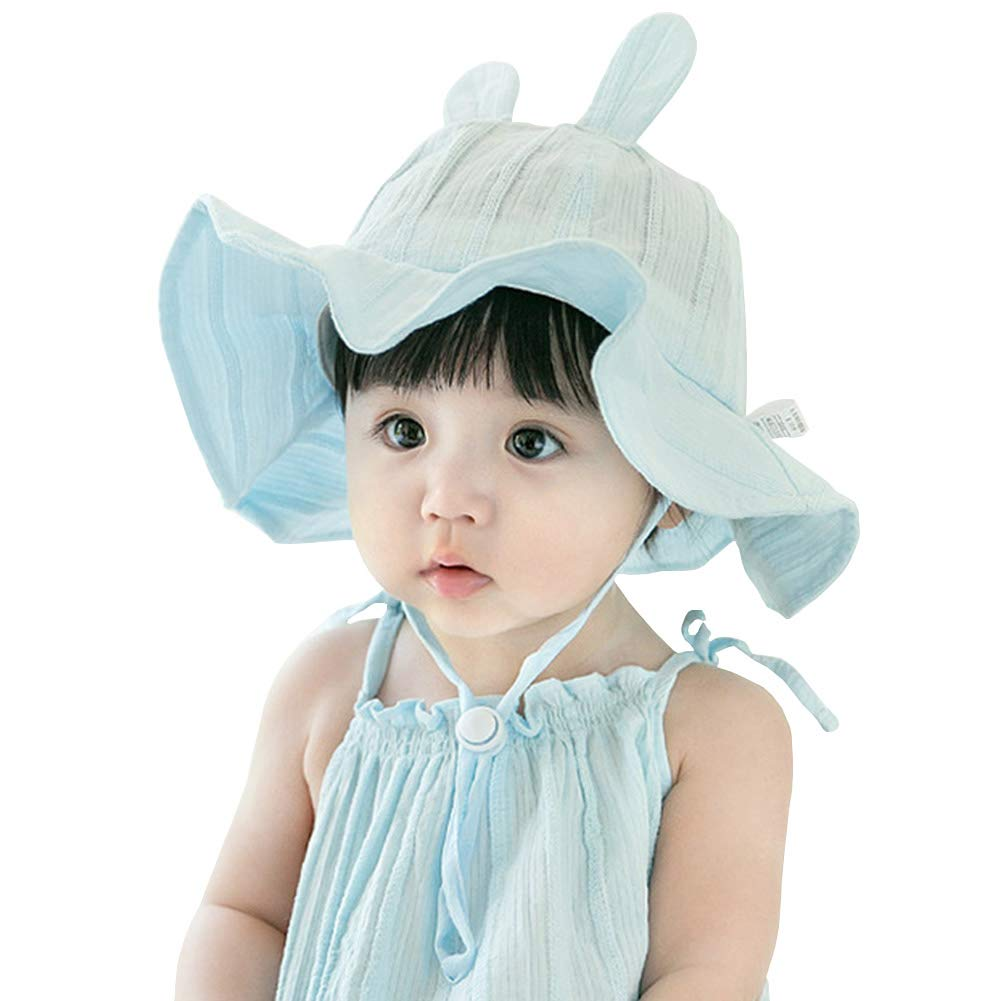 IMLECK Baby Toddler Kids Breathable Striped Rabbit Bucket Sun Hat