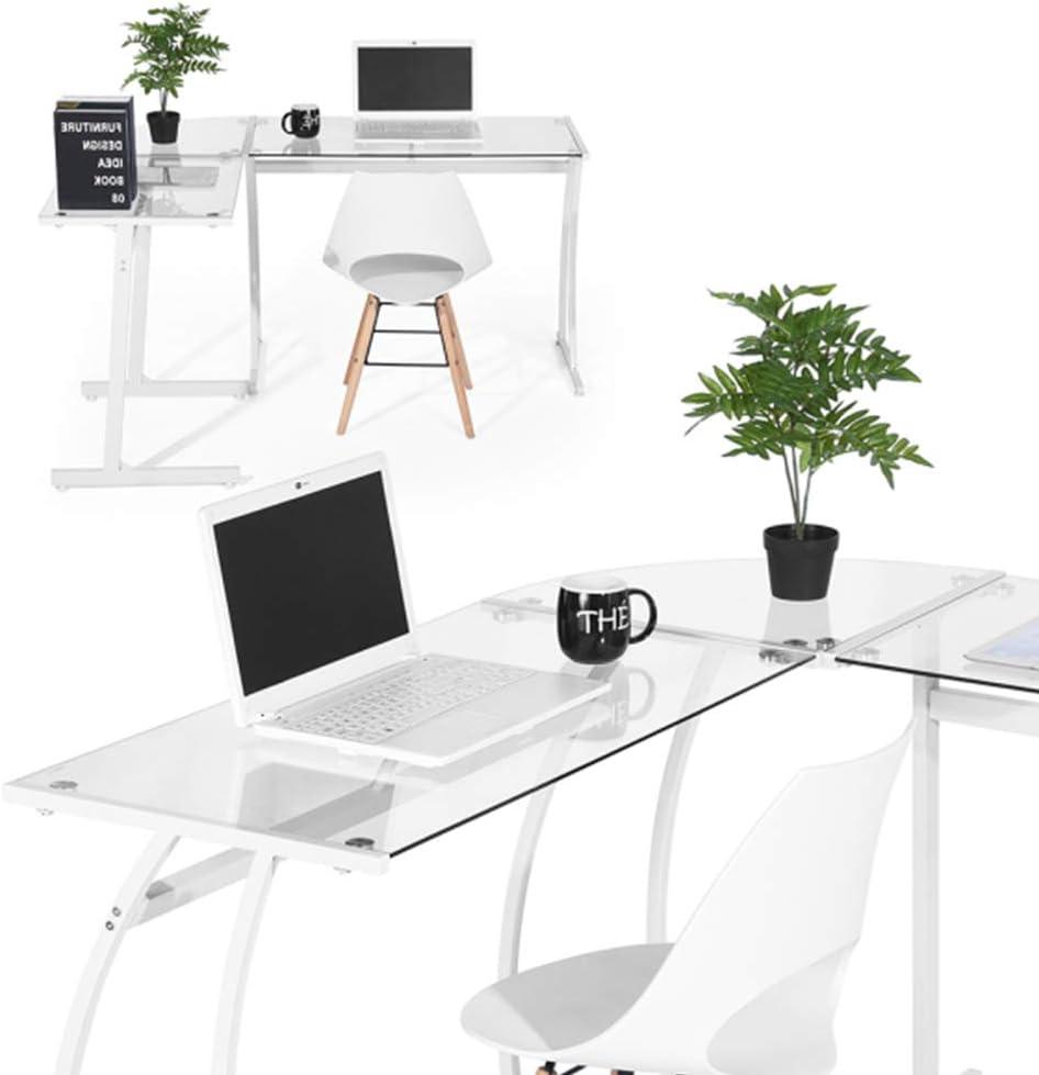 Scrivania angolare in vetro per ufficio in vetro cromato bianco ufficio