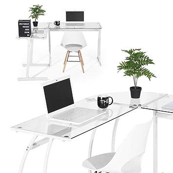 BAKAJI Scrivania Angolare PC Design Moderno Portacomputer ad Angolo Ufficio  Cameretta Casa Postazione Lavoro Superfice in Vetro Struttura in Metallo ...