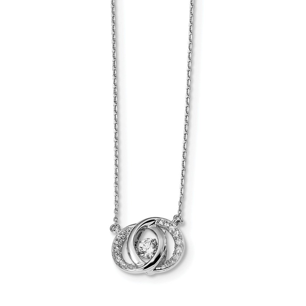 Best Birthday Gift Sterling Silver Platinum-plated Swarovski /& Vibrant CZ w//Two 1in ext Neckl