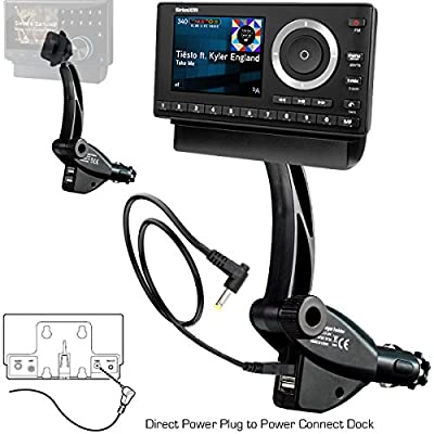 ChargerCity Dual USB Sirius XM Satellite Radio Lighter Socket Car Mount w/Tilt adjust & PowerConnect Vehicle Power Cable Adapter Charger for Onyx Lynx Edge Plus Stratus Starmate 5 6 7 8 Xpress EZ R RC from ChargerCity