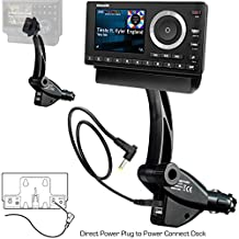 ChargerCity Dual USB Sirius XM Satellite Radio Lighter Socket Car Mount w/Tilt adjust & PowerConnect Vehicle Power Cable Adapter Charger for Onyx Lynx Edge Plus Stratus Starmate 5 6 7 8 Xpress EZ R RC