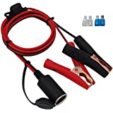 CUZEC 12V/ 24V Extension Cord Plug Socket with Battery Clamp 4.9FT / 1.5m 16 AWG Battery Clip-On and Cigarette Lighter Adapter