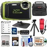 Fujifilm FinePix XP130 Shock & Waterproof Wi-Fi Digital Camera (Lime) with 16GB Card + Battery + Cases + Tripod + Strap + Kit