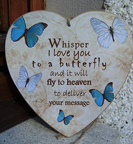Funlaugh Whisper I Love You to A Butterfly Heaven Message Blue Memorial Home Gift Idea Heart Handmade Plaque Hand Painted Wood Signs with Quotes Home Wall Plaque ()