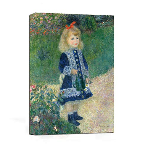 JunTung A Girl with a Watering Can by Auguste Renoir Art Reproduction Print -Canvas Art Wall Decor Framed for Home Decor 12