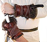 Medieval-Larp-SCA-Pagan-Reenactment-Cosplay-Barbarian LARP REAL LEATHER & FAKE FUR ARM BRACERS