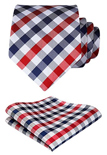 HISDERN Plaid Tie Handkerchief Woven Classic Check Men's Necktie & Pocket Square Set