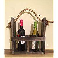 Rustic wood wine carrier, wine tote, wine bottle holder, rustic home decor, wine housewarming present, wine gift, wine decor, farmhouse