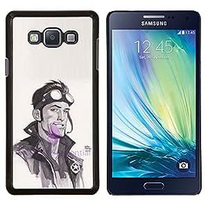 Enfriar Piloto del motorista de la acuarela Actor Hombre- Metal de aluminio y de plástico duro Caja del teléfono - Negro - Samsung Galaxy A7 / SM-A700