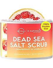 O Naturals Exfoliating Brightening Dead Sea Salt Natural Organic Grapefruit Face & Body Scrub Hydrating Moisturizer Reduce Look of Cellulite Moisturizes Dry Skin Men & Women 500gr