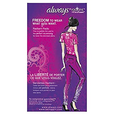 Always Radiant Overnight Pads with Wings, Scented, 22 Count (Pack of 3)