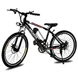Ancheer Power Plus Electric Mountain Bike with Removable Lithium-Ion Battery, Battery Charger, 26-Inch Wheel