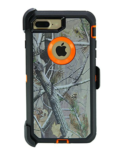 WallSkiN Turtle Series Cases for iPhone 7 Plus/iPhone 8 Plus (Only) Full Body Protection with Kickstand & Holster - Pinus (Tree Bough/Orange)