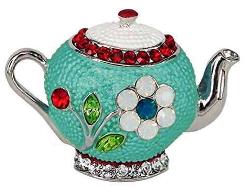 Teapot Brooch with SWAROVSKI Crystals