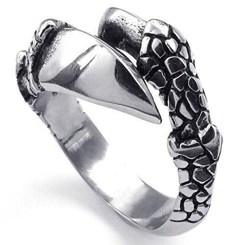 Stainless Steel Rings Men's Bands CZ Couples Black Silver Epinki - 5