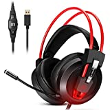Gaming Headset, Prymax Gaming Headphones USB 7.1 Surround Sound Headset with 360° Adjustable Noise Canceling Mic, Crystal Clear Sound, Soft Ear-Cup, LED Light for PC/Mac/Nintendo Switch/PS4