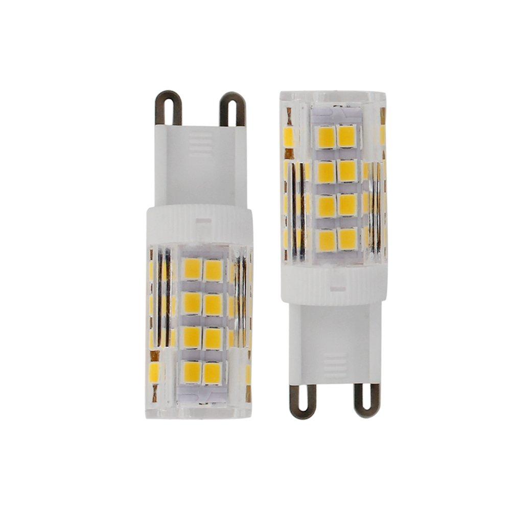 ELINKUME 10 piezas Bombillas LED G9,Sin Parpadeo,(5W Reemplaza a Halógena 50W),Blanco Cálido 430LM,51x2835 LED SMD,lámpara de ahorro de energía no regulable ...