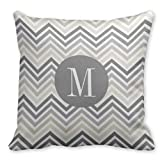Just Redo Gray Linen Beige Chevron Pattern with Monogram Pillow Cushion Cover Throw Cushion Cover
