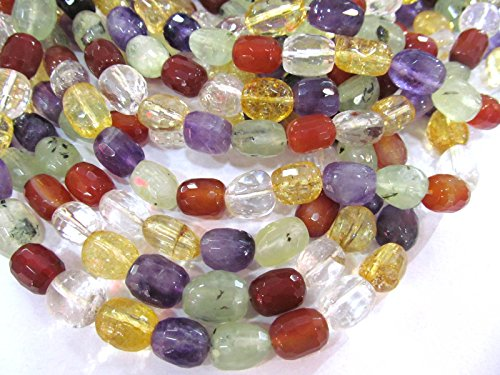 Full strand 16'' Red agate Citrine Green Red Clear white Rock Crystal Mix Quartz Gemstone Faceted Nugget Barrel Loose beads 18-13mm by weekbeads