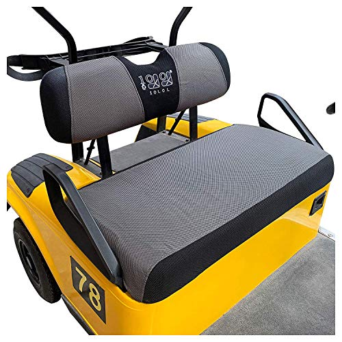 10L0L Golf Cart Seat Cover Set Fit for EZGO TXT & RXV, EZGO Bench Seat Cover Washable Breathable Polyester Mesh Cloth Gray/Black/Yellow/Beige