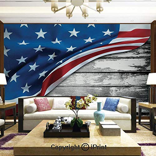 Lionpapa_mural Self-Adhesive Large Wallpaper Better Designs for Living Room,Close Up Design Flag Over Antique Rustic Rippled Board Federal Country,Home Decor - 100x144 inches ()