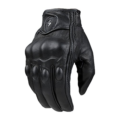 Men Motorcycle Gloves Protective Gears Motocross Real Leather Full Finger Black XL