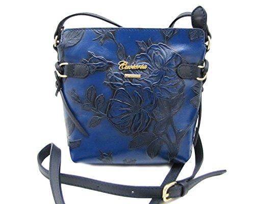 Cuoieria Fiorentina Italian Embossed Tooled Leather Crossbody (Blue) -
