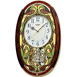 Rhythm Clocks Tiffany Legacy Musical Motion Clock, Ivory