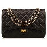 Ainifeel Women's Quilted Oversize Genuine Leather Shoulder Handbag Hobo Bag Purse (X-Large, Black (stiff cow leather gold hardware))
