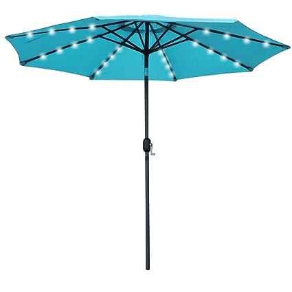 Snail 9 Ft Aluminum Solar Patio Umbrella With 32 LED Lights, Fade Resistant  Illuminated Garden