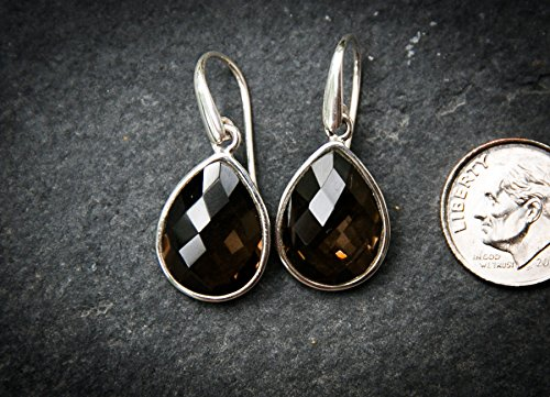 925 Sterling Silver Girl's Drop Earring, Queen Gemstone Drop Earring, Gift For Sister Marriage, Wedding Woman's Drop Earring, Checkerboard Quartz Drop Earring, Anniversary Fine Smokey Drop Earring (Smokey Quartz Checkerboard)
