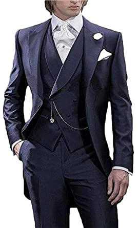 5532aad5c8f Men's Navy Blue 3PC Long Tailcoat Suit Notch Lapel One Button Wedding Suits  Groom Tuxedos Navy