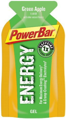 PowerBar Energy Gel, Caffeinated, Green Apple, 1.44-Ounce Packets (Pack of 24)