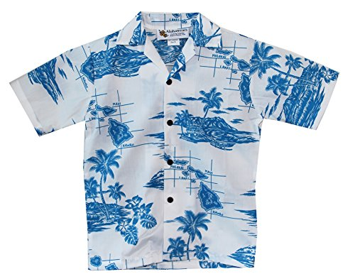 Make in Hawaii Boys Hawaiian Islands Map Cruise Luau Hawaiian Aloha Shirt